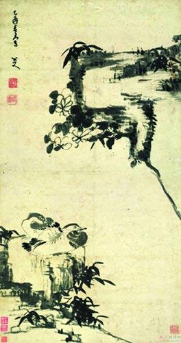 八大山人《竹石鸳鸯图》。